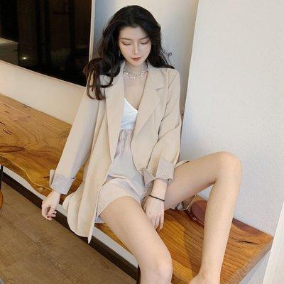 2019春季韓版時尚新款顯瘦簡約寬松西裝外套+休閒褲短褲兩件套女