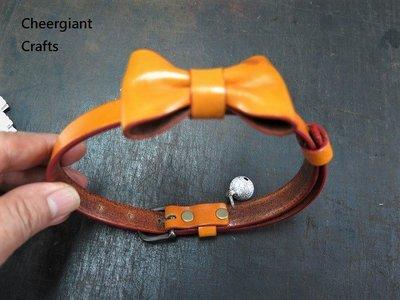 柴犬牛皮項圈蝴蝶結中型犬項圈 Shiba Inu dog bowknot pet leather collar MIT
