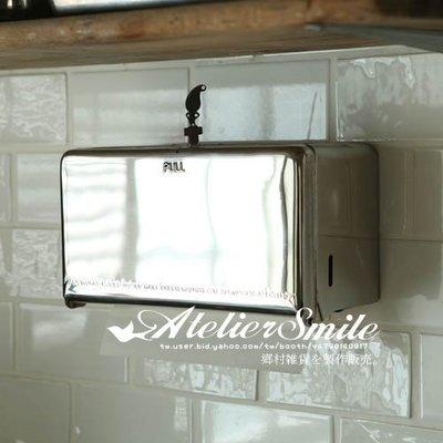 [ Atelier Smile ]  鄉村雜貨 日本直送 DULTON 金屬 抽取式紙巾盒 壁掛紙巾盒 面紙 # 電鍍