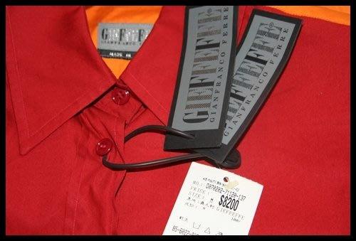 全新【Gianfranco Ferre】GFF 前中國紅後橘色拼接100%純棉長袖襯衫