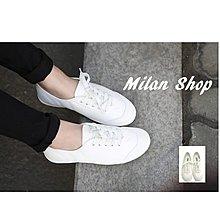 ☆Milan Shop☆網路最低價 韓Korea 首爾女孩愛穿平底休閒鞋/白布鞋/帆布鞋23-25$590(免運)