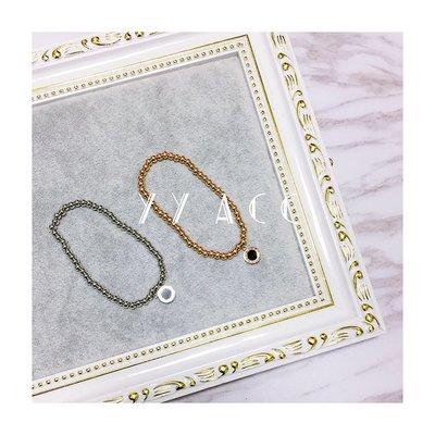 飾品18K玫瑰金鈦鋼貝殼羅馬數字黑白雙面圓珠手鏈手鐲女百搭大氣韓國