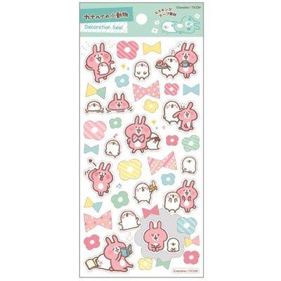 ⊕FollowV⊕日本文具《現貨》卡娜赫拉 Kanahei 粉紅色兔子/小鳥P助 花朵/蝴蝶結 貼紙/手帳裝飾 日本製