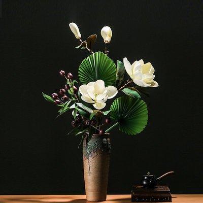 小小雜貨鋪-新中式廣玉蘭仿真花藝套裝 餐桌擺花客廳茶幾裝飾品玄關假花擺件熱銷# 免運# 百貨# 雜貨