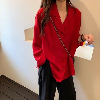Maisobo 韓國 KOREA 秋冬復古西裝領紅色長袖襯衫 Ru-101 預購