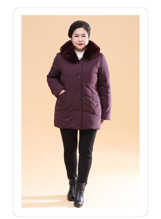 EBE1D 羅蘭紫連帽單排扣加厚羽絨服2XL-10XL秋冬婆婆裝媽媽裝風衣女裝外套大尺碼大碼超大尺碼