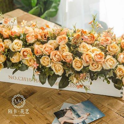 高仿花50CM木柵欄假花仿真花客廳擺件室內酒店餐廳裝飾擺放干花玫瑰插花