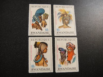 【大三元】非洲郵票-盧安達郵票-傳統文化髮飾系列-新票5枚-原膠