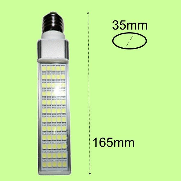 5Cgo【代購】12W 橫插燈 PL E27 G24 G23 60燈 5050 LED AC72~266V 含稅會員5%