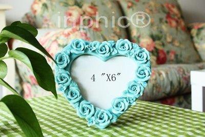 INPHIC-陶瓷玫瑰相框 愛的紀念 創意相片夾 擺台相框 手工婚紗相框