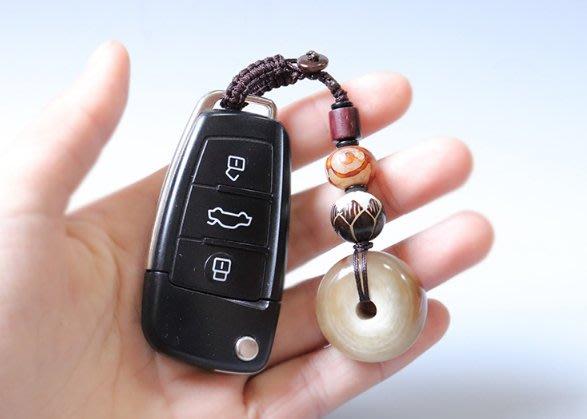 【弘慧堂】 【牛角平安扣】天然牛角面包圈汽車鑰匙扣 掛件 吉祥轉運 男女款
