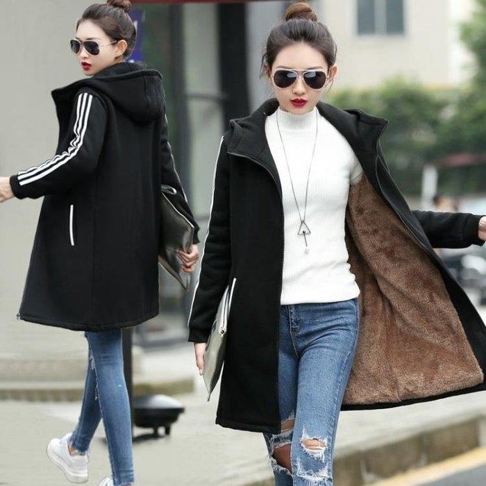 連帽加絨外套女2018秋裝新款大碼寬鬆加厚衛衣女裝冬季中長款開衫