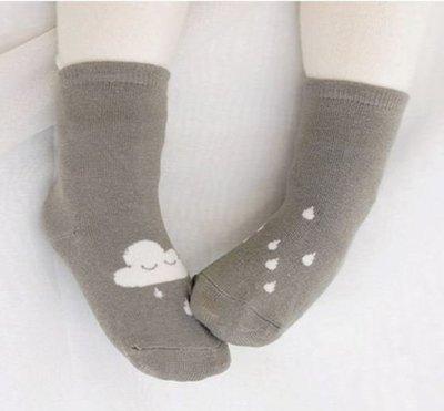 ❤現貨🔔優惠價🔔G022❤AB襪子 寶寶兒童短襪 男女童短襪 -白雲雨滴款(灰-M)