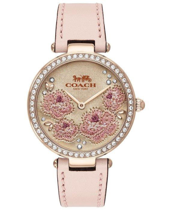 Coco小鋪 COACH Park Ice Pink Leather Strap Watch 34mm 粉色錶帶