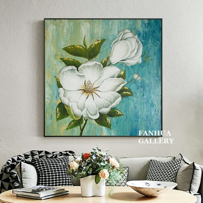 C - R - A - Z - Y - T - O - W - N 純手繪立體油畫時尚白牡丹花卉方形掛畫玄關藝術裝飾畫別墅飯店設計師款高檔手繪油畫收藏品味油畫