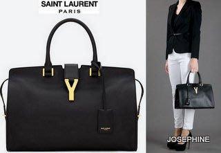 喬瑟芬【YSL Saint Laurent 】現貨~2013春夏*311208 Cabas Chyc Y In Black 黑色 中型 手提肩背包