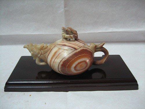 28-單龍-石雕-木紋石壺---