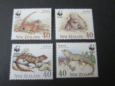 【雲品】紐西蘭New Zealand 1991 Sc 1023-6 Tuatara/WWF (4) set MNH