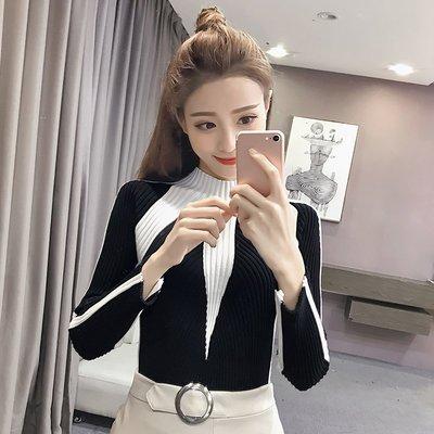 2017秋装新款女装韩版时尚修身百搭针织衫半高领长袖毛衣打底衫潮