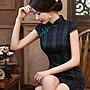 文藝復古民國風 英倫格紋短款旗袍 短袖格子...