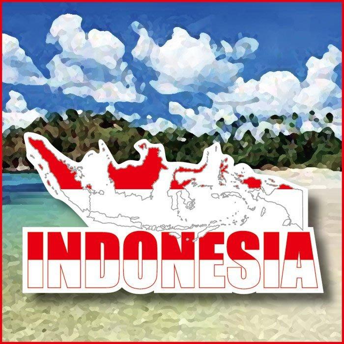 【衝浪小胖】印尼國旗地圖抗UV、防水行李箱貼紙/Indonesia/多國款可訂製