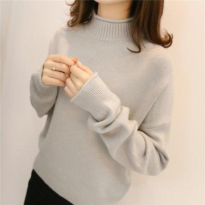 毛衣女2018秋冬新款加厚長袖內搭打底衫半高領短款寬鬆套頭針織衫