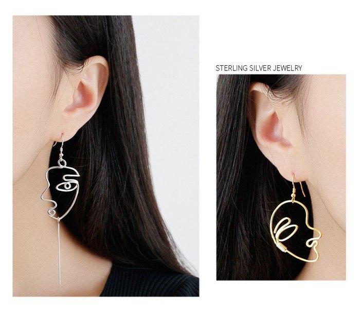 《現貨》925純銀 個性抽象耳環耳丁耳針耳飾 聖誕節禮物 女朋友禮物 生日情人禮 附禮盒 銀布 Baonizi