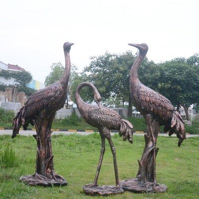戶外仿真玻璃鋼雕塑仿銅丹頂鶴仙鶴擺件園林景觀假山花園裝飾小品小豬佩奇