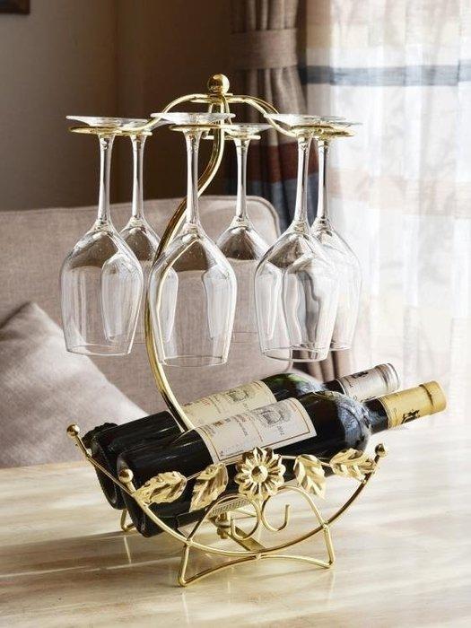 創意紅酒架倒掛鐵藝歐式擺件 -百利
