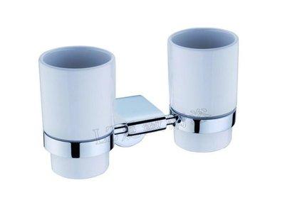 ~LZ麗緻衛浴~別緻款特殊造型純銅雙漱口杯架(雙杯架) [斯瓦系列]