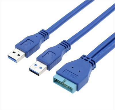 USB3.0擴充 20pin轉雙USB線 USB19針轉接線 機殼轉接線 主機板轉接線 USB3.0轉接線 U3-062