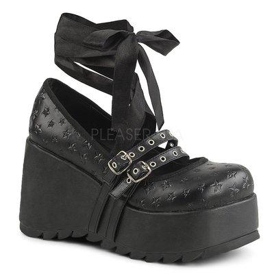 Shoes InStyle《三吋》美國品牌 DEMONIA 原廠正品龐克歌德蘿莉星星絲帶厚底楔型鞋 有大尺碼 『黑色』