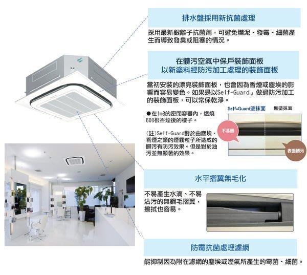 ☎【DAIKIN大金】16坪 含基本安裝商用埋入式四方吹冷專分離式( RZF100/FCA100CVLT)
