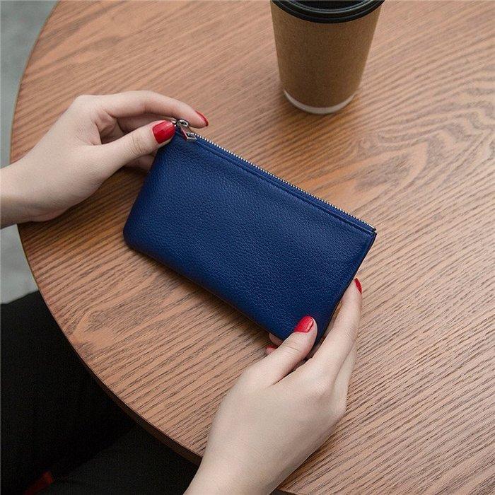 現貨/頭層皮質皮質超薄長款女錢包零錢包拉鍊包手機包女式手拿包男簡約175SP5RL/ 最低促銷價