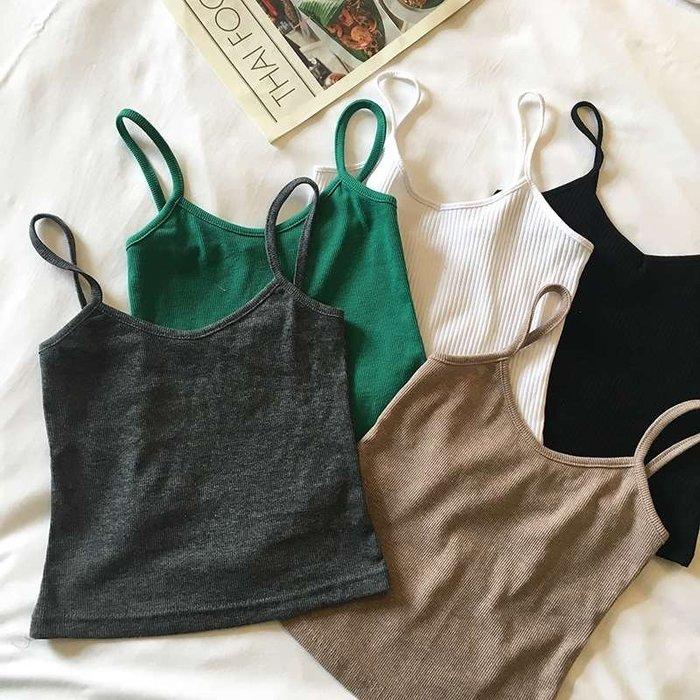 夏裝新款韓版修身百搭螺紋短款小吊帶背心女打底吊帶衫
