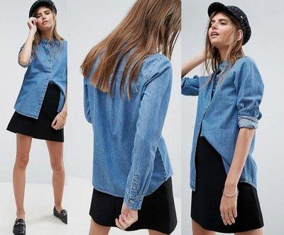 ◎美國代買◎經典藍刷色百搭款藍色牛仔襯衫上衣~歐美街風~大尺碼