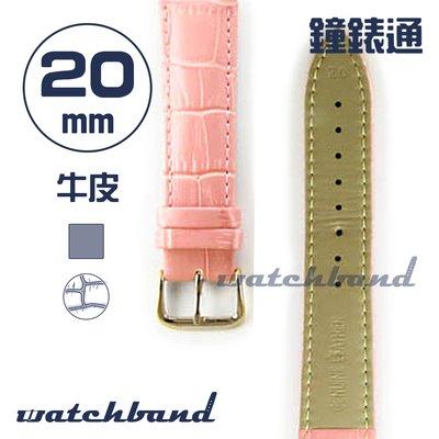 【鐘錶通】C1.33AA《霧面系列》鱷魚格紋-20mm 霧面櫻花粉┝手錶錶帶/皮帶/牛皮錶帶┥