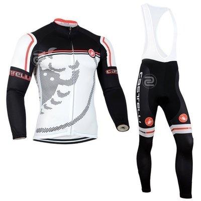 【綠色運動】2014款蝎子castelli黑白 自行車衣長袖款 單車服 自行車服 吊帶腳踏車衣 車衣車褲背帶長套裝