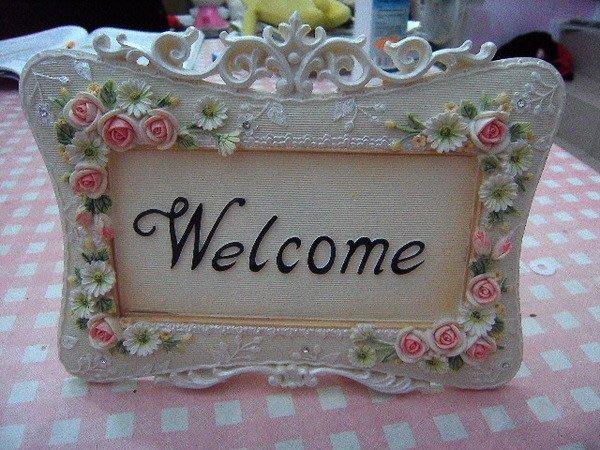 粉紅玫瑰精品屋~樹脂玫瑰水鑽welcome立牌~現貨