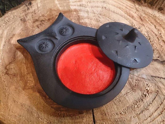 貓頭鷹『丸』黑鑄鐵印台,職人馬場忠寬鐵器系列,日本製