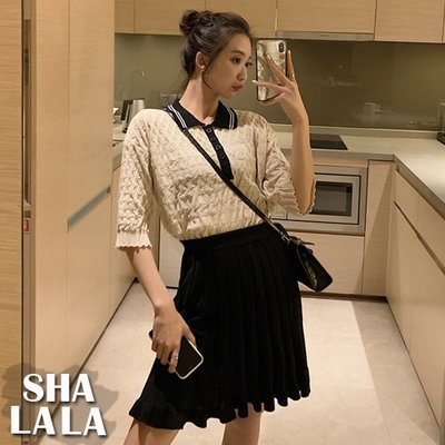 SHA LA LA 莎菈菈 韓版五分袖撞色翻領POLO上衣+高腰針織百褶半身裙套裝2019031407預購款