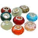 琥珀貓銀飾DIY【925純銀飾品】切面水晶琉璃大孔珠~N8973~一個