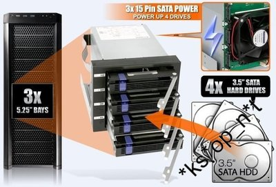 {MPower} 台灣名廠 ICY Dock MB154SP-B 專業級 4 Bay 3.5 SATA HDD Mobile Rack 抽取盒 內置風扇 - 原裝行貨