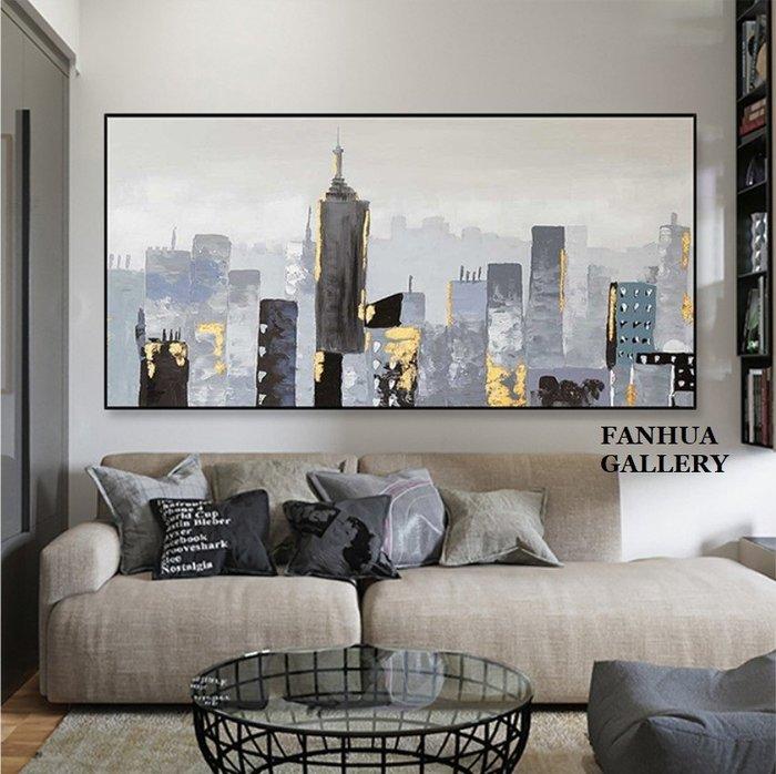 C - R - A - Z - Y - T - O - W - N 純手繪立體筆觸油畫簡約抽象城市風景油畫橫幅藝術掛畫