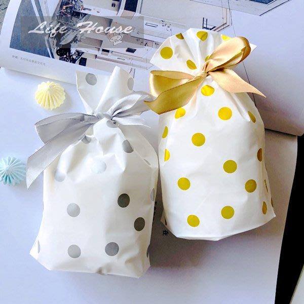 金色圓點束口袋 中款 婚禮小物包裝袋 畢業禮物包裝袋 生日禮物袋 禮品袋 禮物袋 包裝袋 平口袋 抽繩