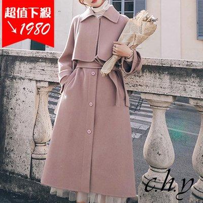 簡約時尚氣質復古英倫風連肩袖寬鬆毛呢風衣長大衣外套-粉色-S-XL-19107090