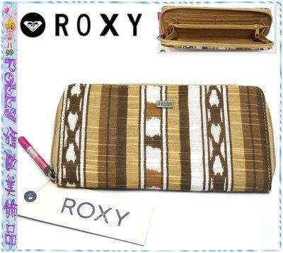 ☆POLLY媽☆歐美ROXY咖啡駝色系民族風圖騰帆布拉鏈大型長夾19.5×10.5×2cm