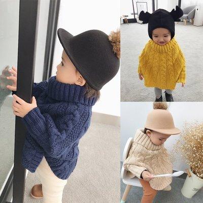 ♥【GC5032】韓版女童裝蝙蝠袖斗篷高領毛衣 3色 (黃色 杏色 藍色 現貨) ♥