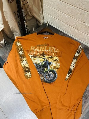 日韓美專代現貨L 201018魔域機車美國哈雷男士橘色摩托車長袖T衛衣