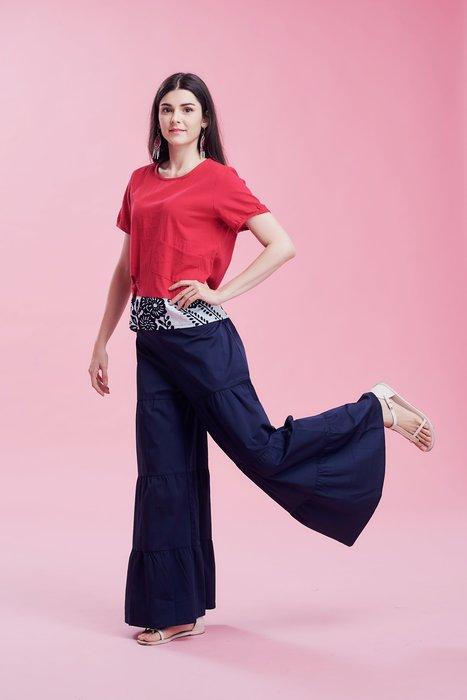 !臺灣藍Anewei超纖細藍色重磅蛋糕褲/褲裙/寬褲-S.M-另有黑 高挑修飾